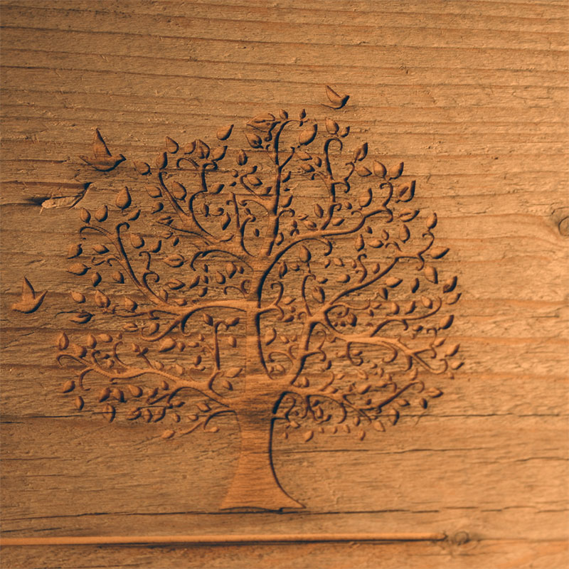 Laser engraving of wood