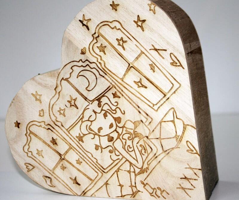Holzherz Box Lasergravur