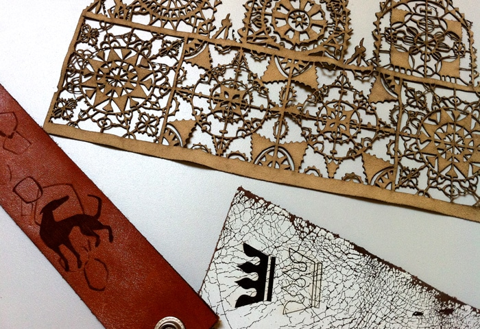 Laser cutting and laser engraving of leather