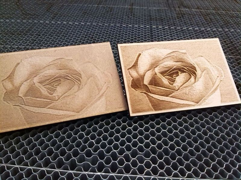 Photo laser engraving on wood with a CO2 laser