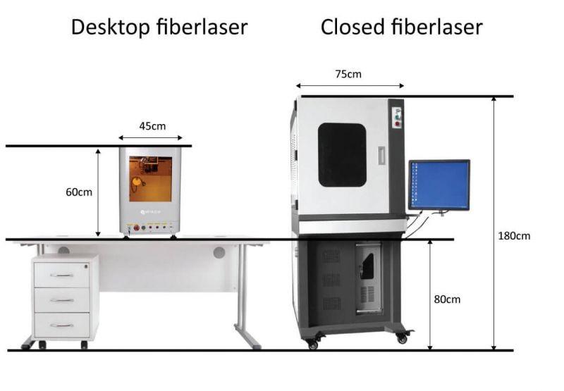 Gesloten desktop fiberlaser graveermachine