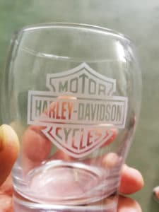 High resolution glass engraving with UV laser logo